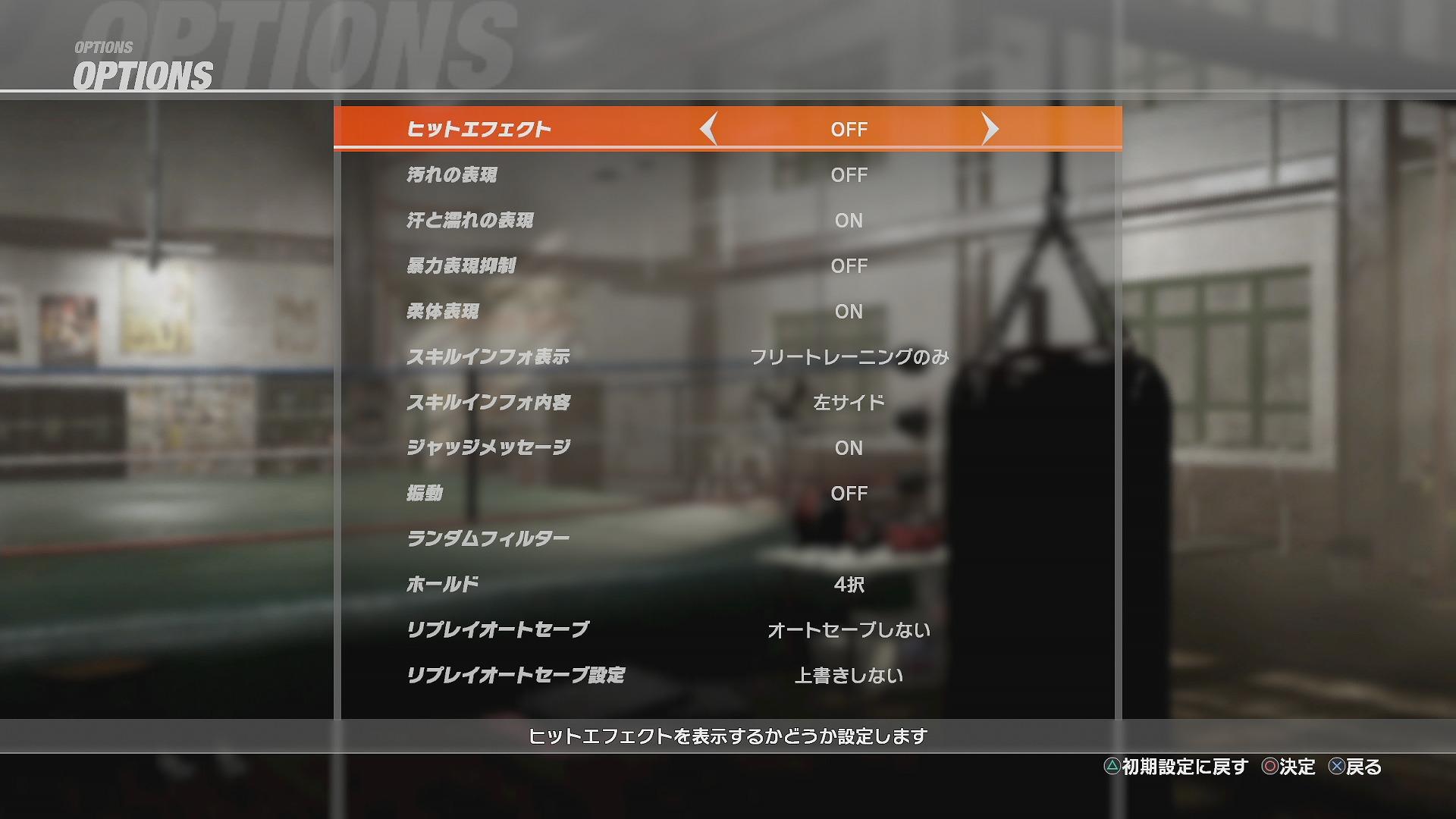 DOA6オプション画面